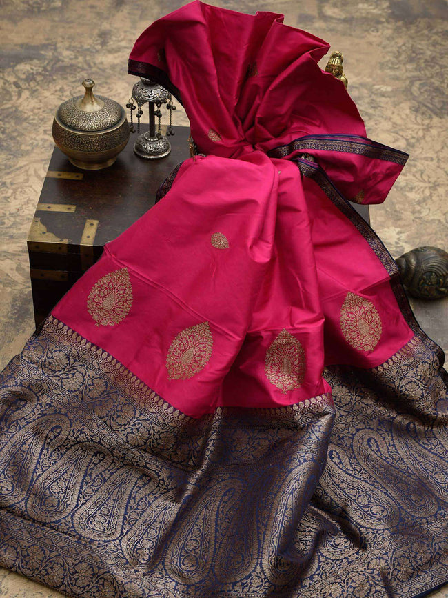 Magenta Color Antique Zari Boota Pure Katan Silk Banarasi Saree - Sacred Weaves