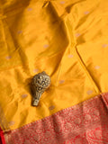 Mustard Antique Zari Booti Pure Katan Silk Banarasi Saree - Sacred Weaves