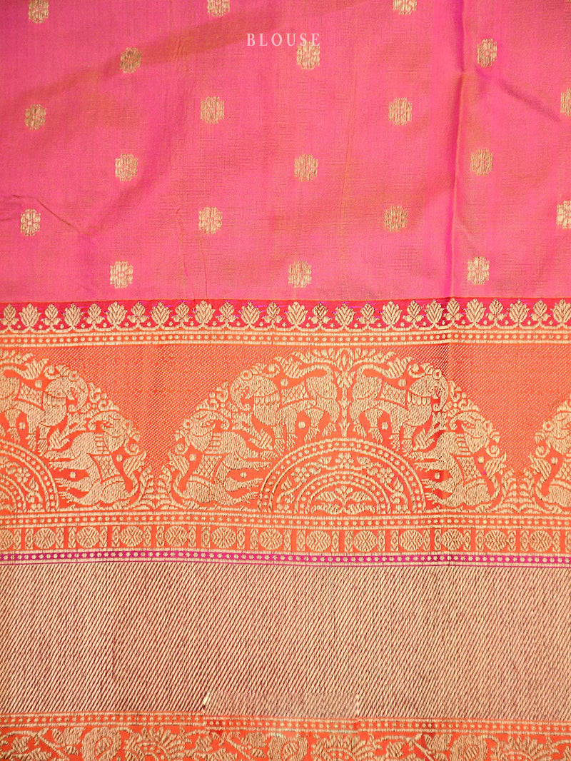 Rust Katan Silk Handloom Banarasi Saree - Sacred Weaves