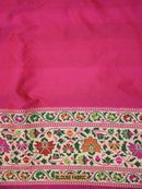 Gorgeous Pink Color Meenakari Paithani Border Pure Katan Silk Saree - Sacred Weaves