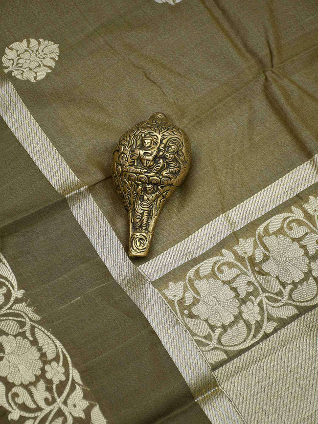 Light Olive Color Zari Boota Pure Tussar Silk Banarasi Saree - Sacred Weaves