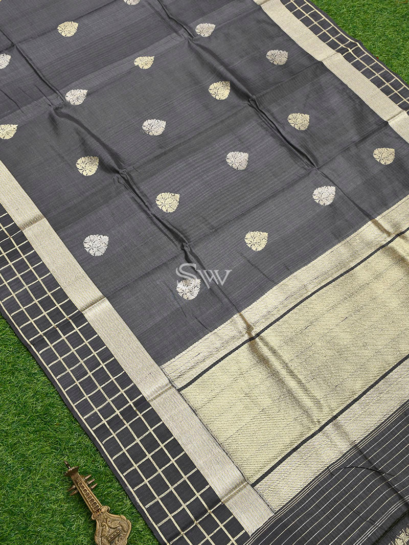 Grey Tussar Silk Handloom Banarasi Saree - Sacred Weaves