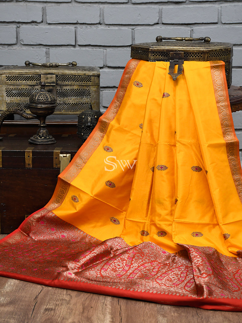 Vibrant Yellow Color Antique Zari Booti Pure Katan Silk Banarasi Saree - Sacred Weaves