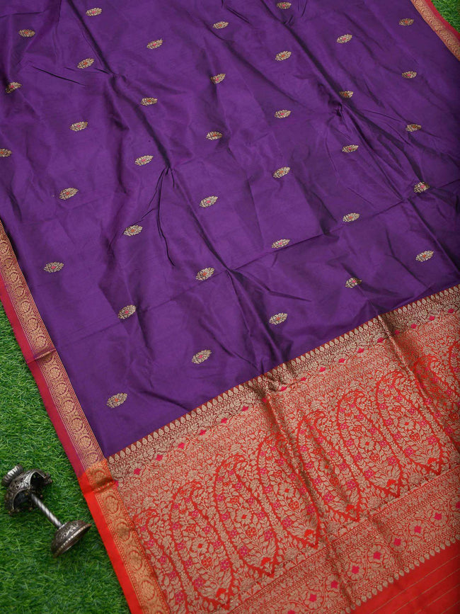 Beautiful Purple Color Meenakari Antique Zari Pure Katan Silk Banarasi Saree - Sacred Weaves