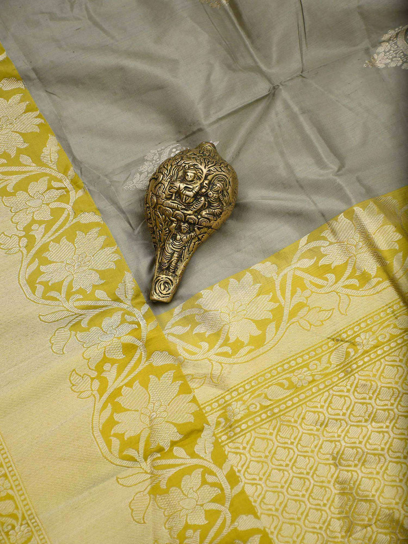 Light Moss Green Color Gold Zari Broad Border Pure Katan Silk Banarasi Saree- Sacred Weaves