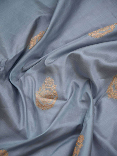 Bluish Grey Gold Zari Broad Border Pure Katan Silk Banarasi Saree - Sacred Weaves