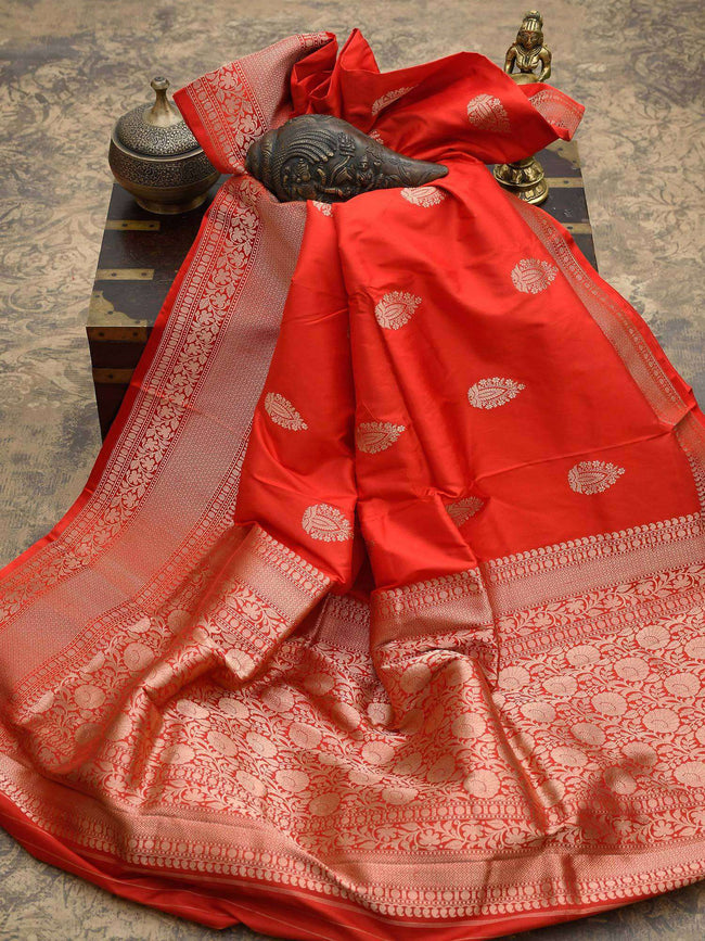 Beautiful Red Color Gold Zari Broad Border Pure Katan Silk Banarasi Saree - Sacred Weaves
