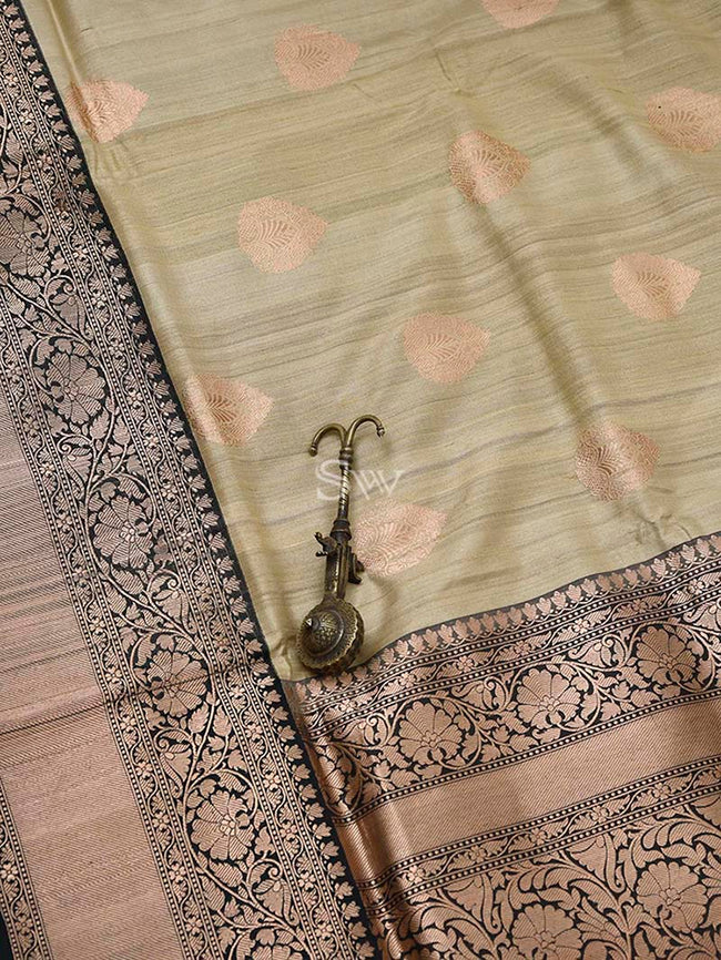 Beige Ornamental Gold Zari Boota Pure Tussar Silk Banarasi Saree - Sacred Weaves