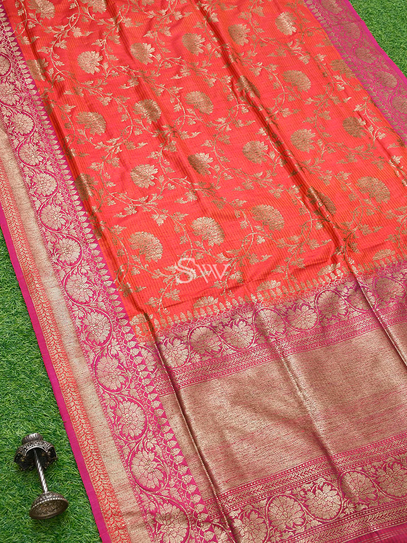 Orange Pink Dupion Silk Handloom Banarasi Saree - Sacred Weaves