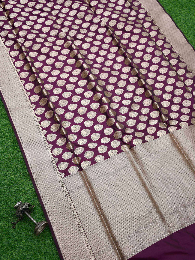 Wine Color Uppada Pure Katan Silk Banarasi Saree - Sacred Weaves