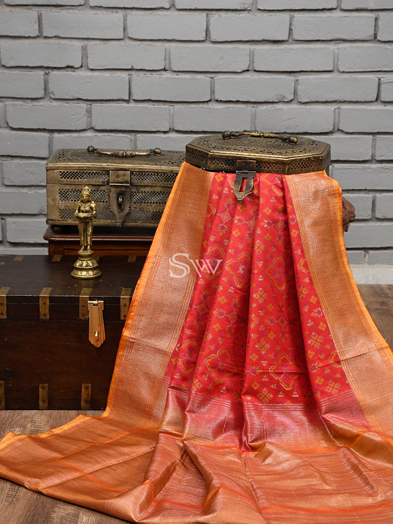 Red Moonga Tussar Silk Handloom Banarasi Saree - Sacred Weaves
