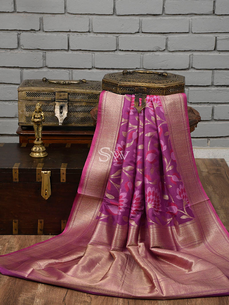 Purple Moonga Tussar Silk Handloom Banarasi Saree - Sacred Weaves