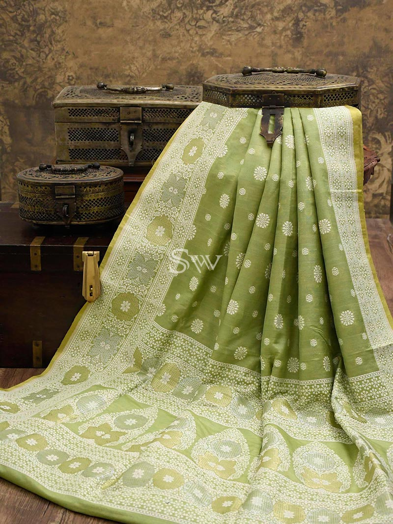 Pista Green Tussar Silk Handloom Banarasi Saree - Sacred Weaves