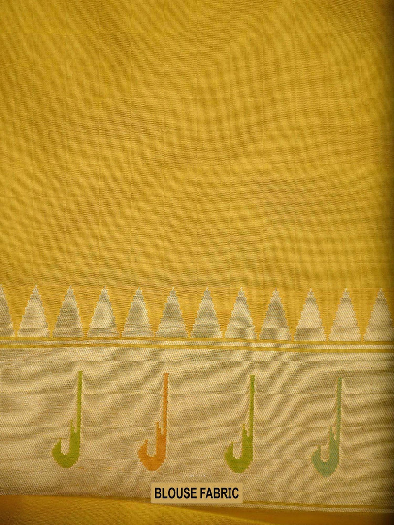Vibrant Yellow Color Uppada Pure Katan Silk Banarasi Saree - Sacred Weaves