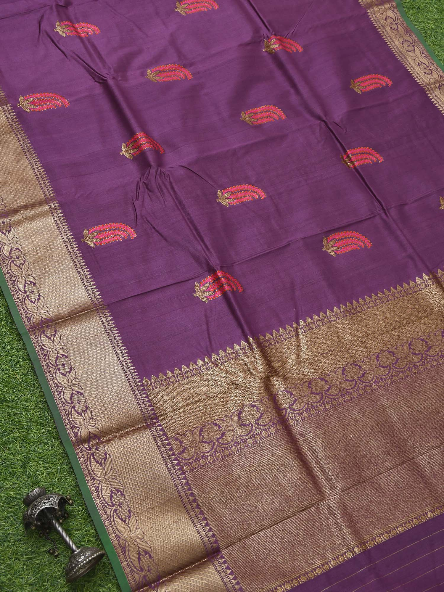Purple Meenakari Tussar Silk Handloom Banarasi Saree - Sacred Weaves