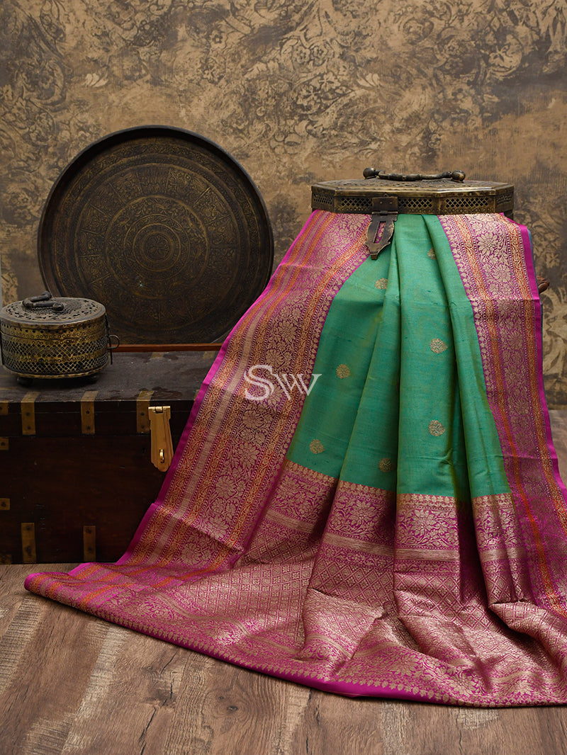 Green Tusser Silk Banarasi Handloom Saree - Sacred Weaves
