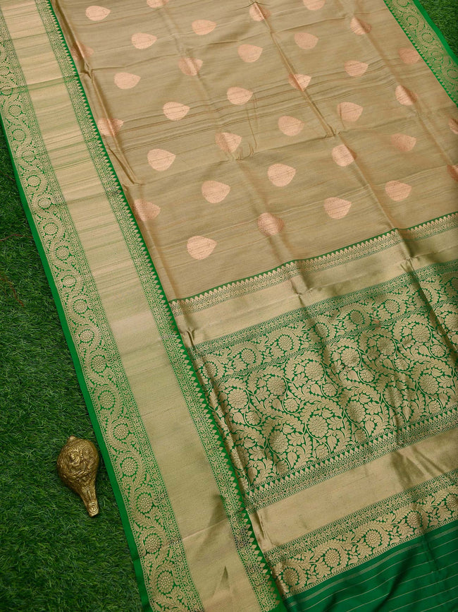 Beige Floral Broad Border Pure Tussar Silk Banarasi Saree - Sacred Weaves