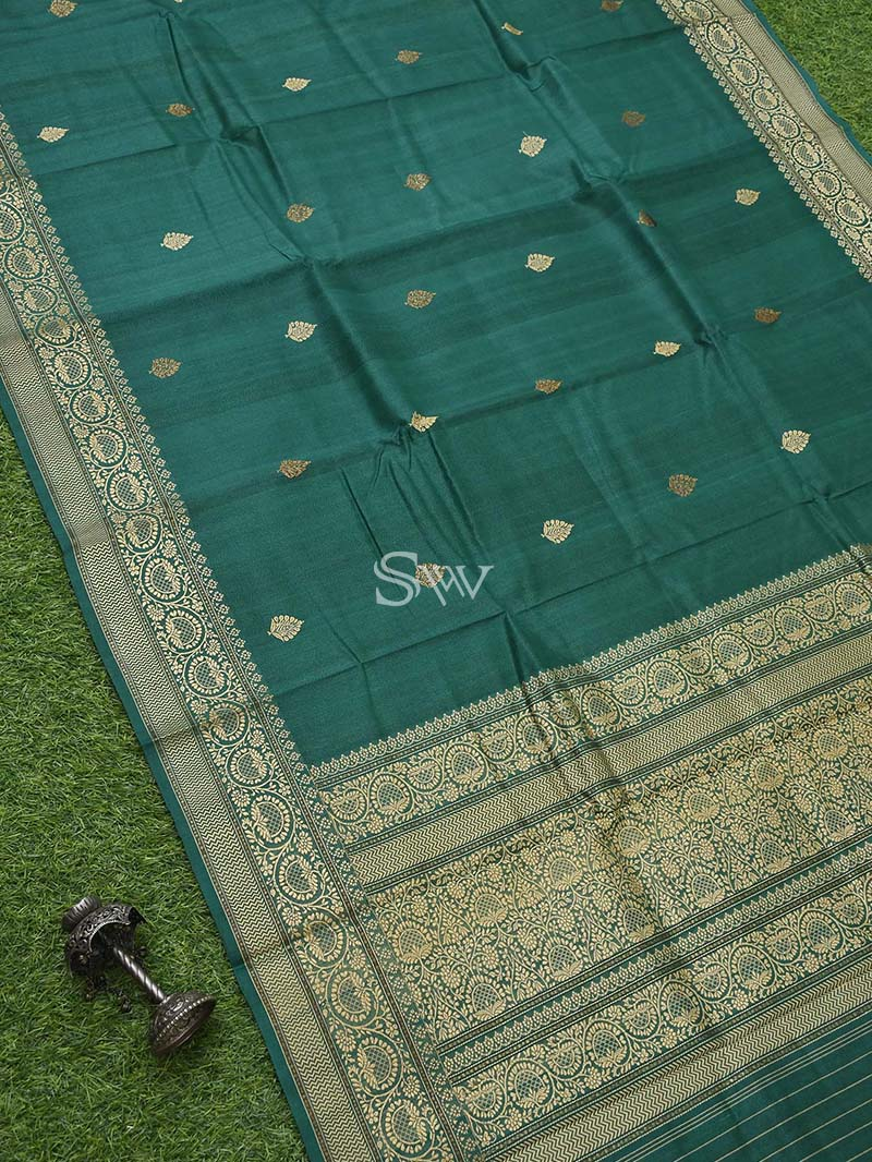 Bottle Green Tusser Silk Handloom Banarasi Saree - Sacred Weaves
