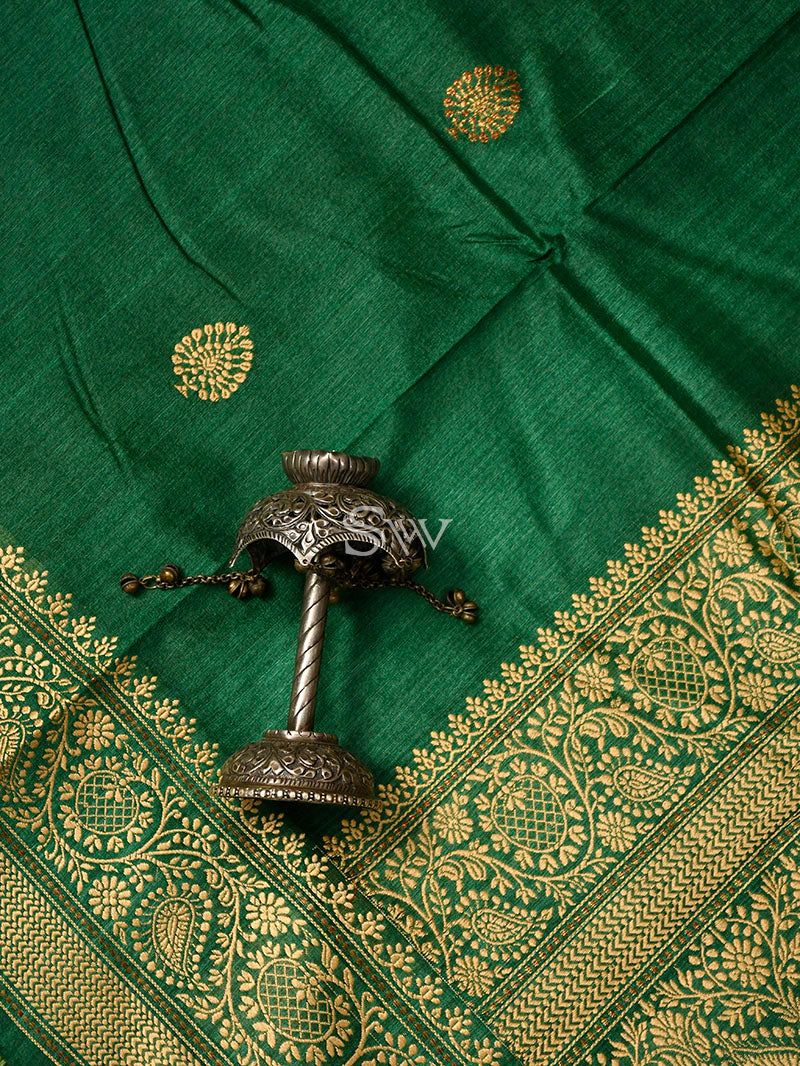 Bottle Green Tussar Silk Handloom Banarasi Saree - Sacred Weaves