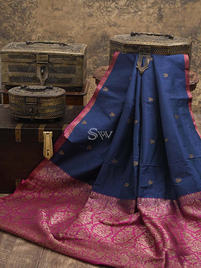 Blue Green Stripe Katan Silk Handloom Banarasi Saree - Sacred Weaves