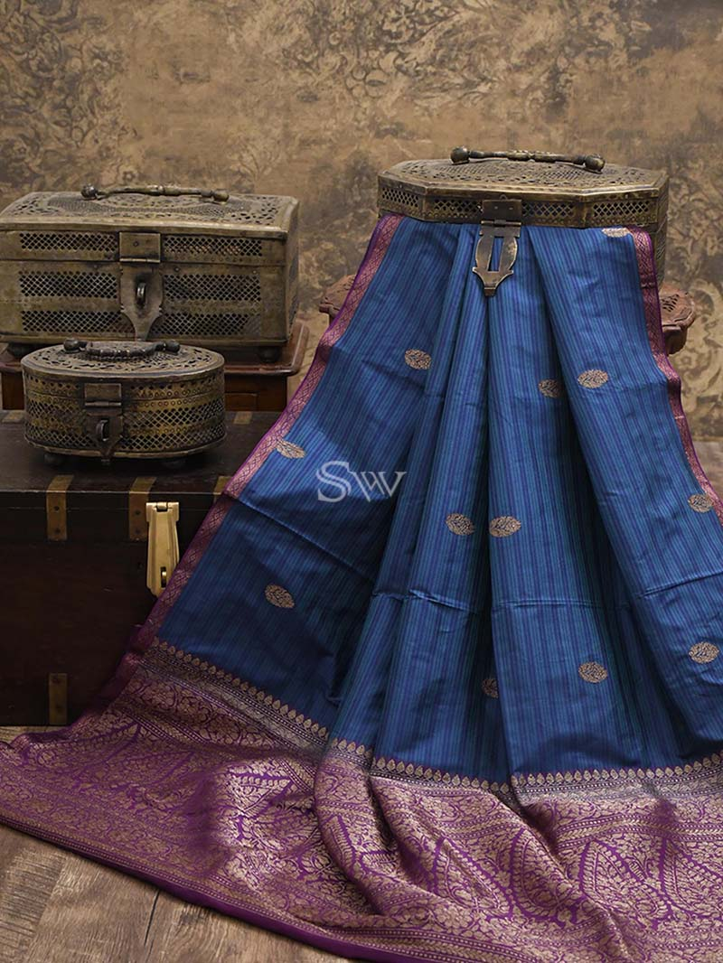 Green Blue Stripe Katan Silk Handloom Banarasi Saree - Sacred Weaves