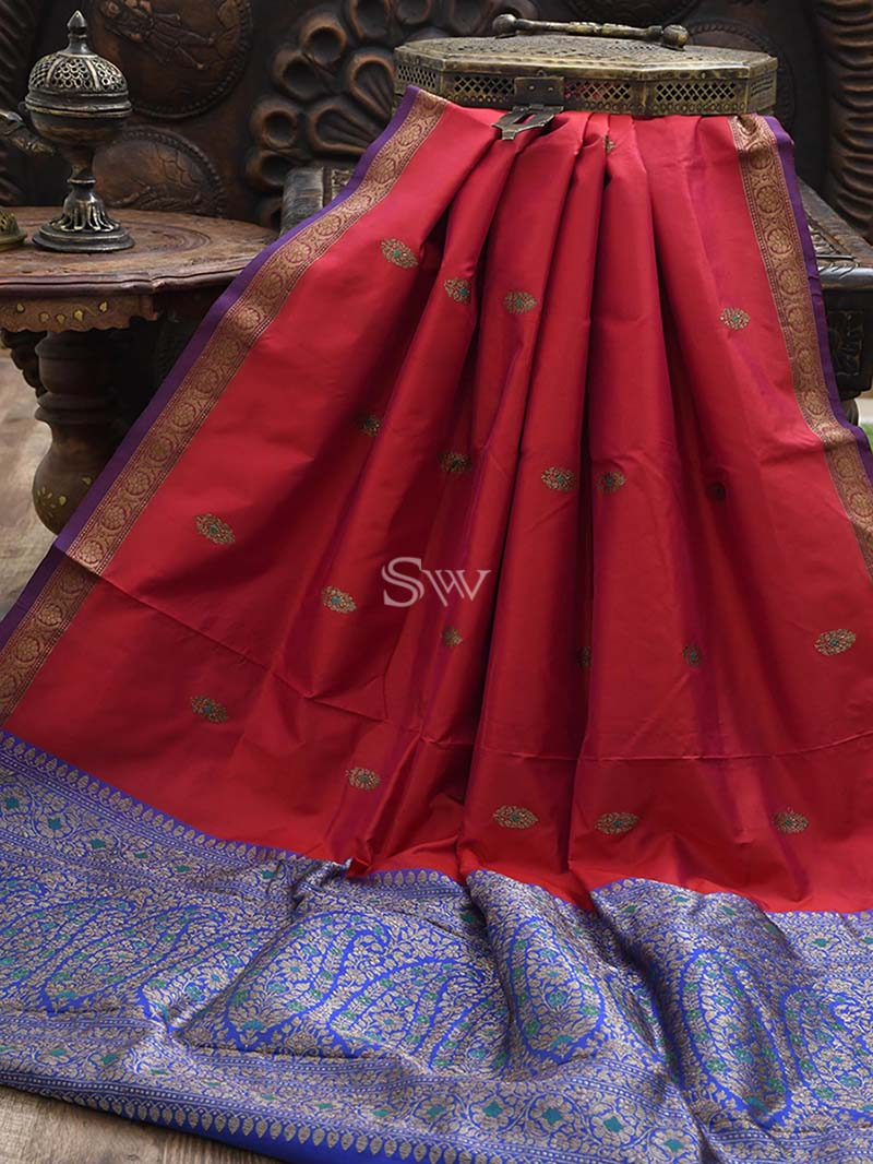Red-Pink Katan Silk Handloom Banarasi Saree - Sacred Weaves