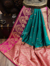 Bottle Green Contrast Skirt Border Pure Katan Silk Banarasi Saree - Sacred Weaves