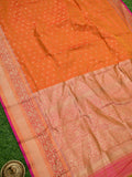 Rust Contrast Shikargah Broad Border Pure Katan Silk Banarasi Saree - Sacred Weaves