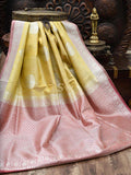 Pastel Yellow Pure Dupion Silk Banarasi Saree - Sacred Weaves