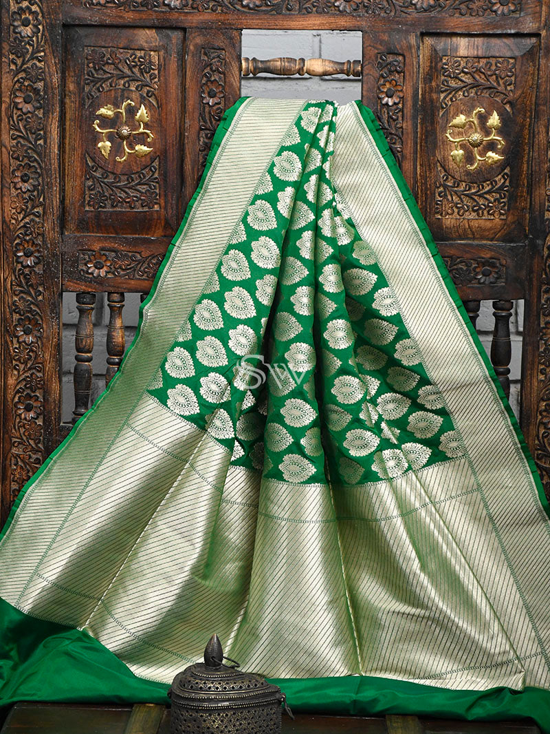 Green Uppada Katan Silk Handloom Banarasi Saree - Sacred Weaves