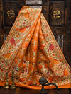 Dark Orange Color Paithani Design Pure Katan Silk Banarasi Saree