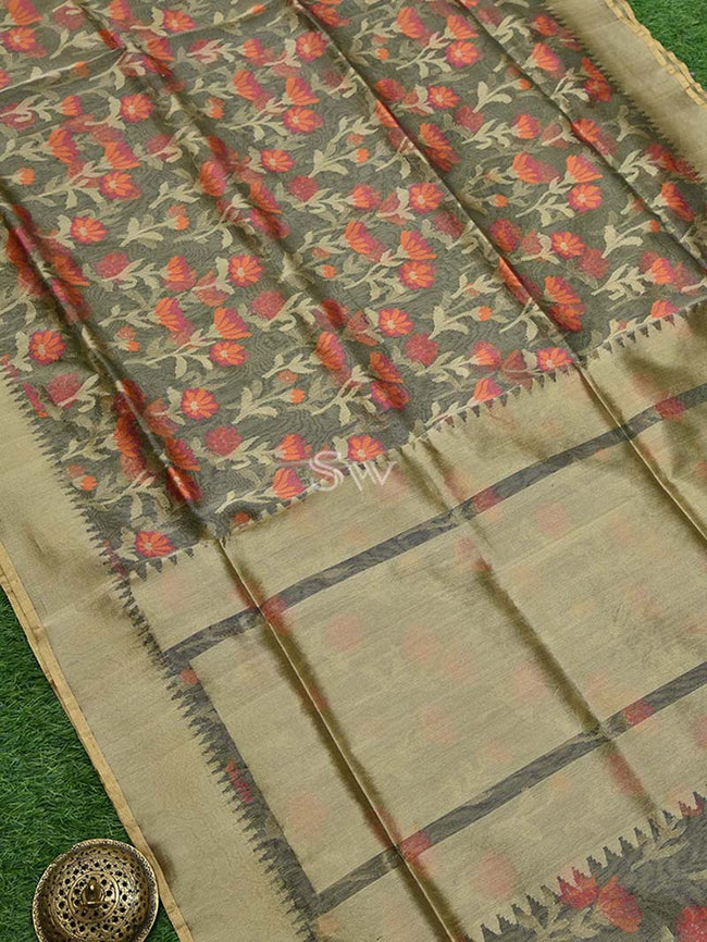 Golden Green Color Meenakari Gold Zari Border Pure Tissue Net Banarasi Saree - Sacred Weaves