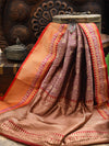 Purple Floral Gold Zari Jaal Brocade Pure Katan Silk Banarasi Saree - Sacred Weaves