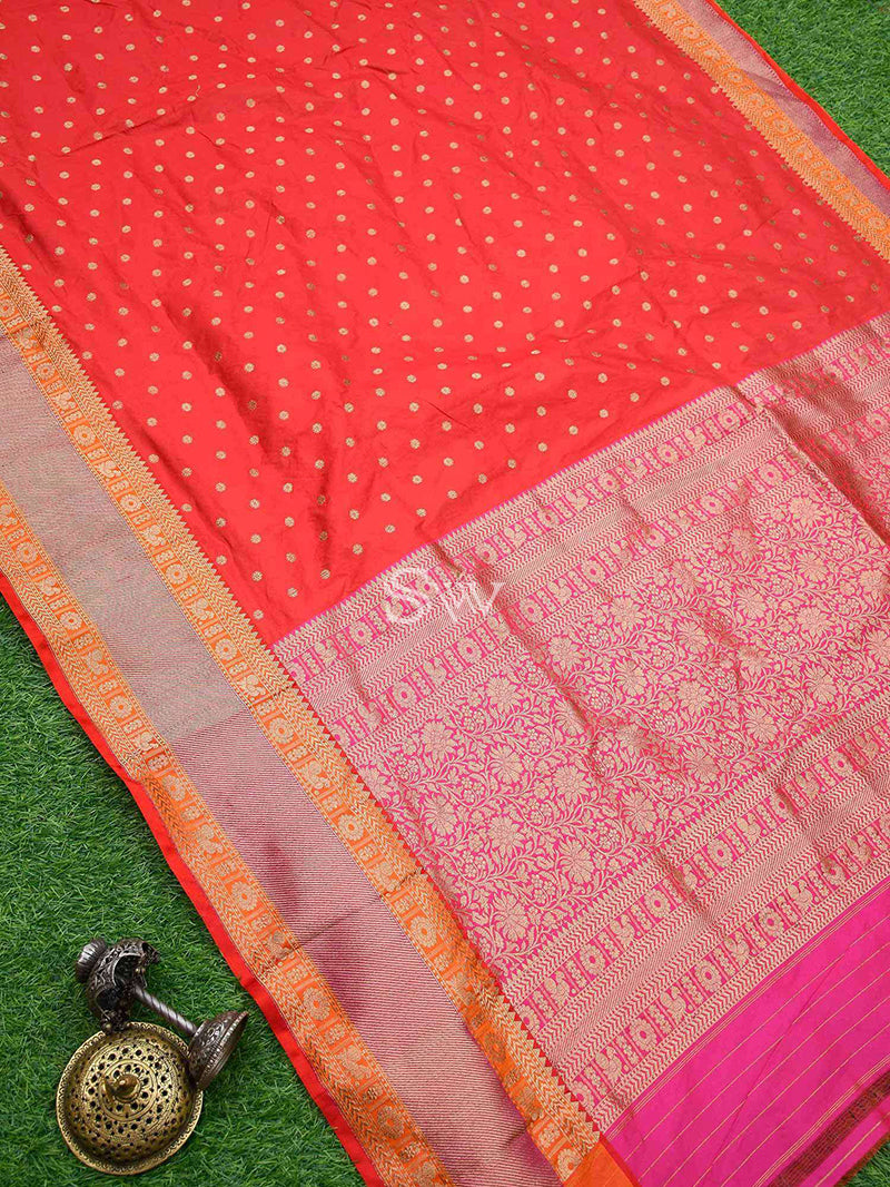 Red Shikargah Katan Silk Handloom Banarasi Saree - Sacred Weaves