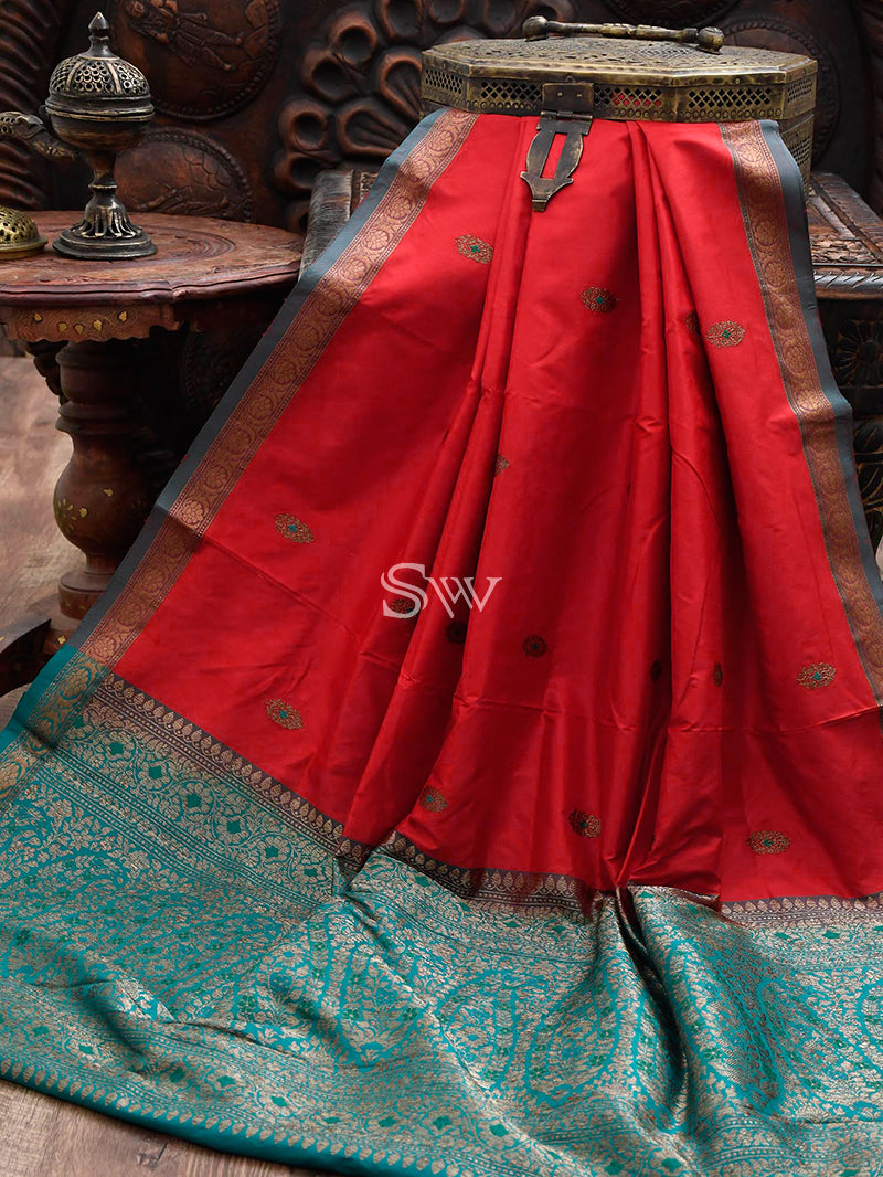 Red Katan Silk Banarasi Handloom Saree - Sacred Weaves