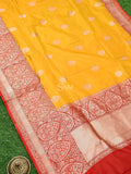 Mustard Gold Zari Broad Border Pure Katan Silk Banarasi Saree - Sacred Weaves