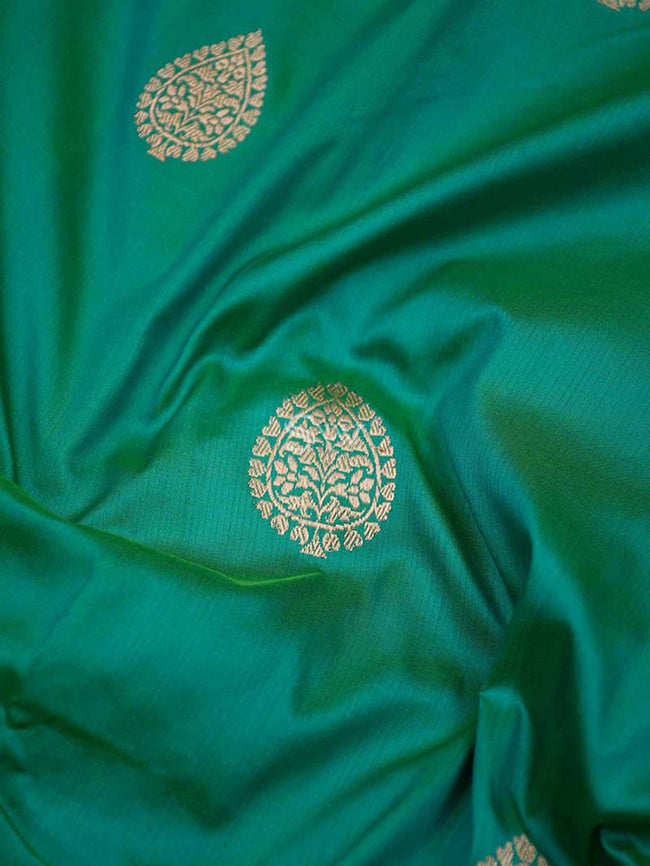 Shades Of Green Gold Zari Boota Broad Border Pure Katan Silk Banarasi Saree - Sacred Weaves
