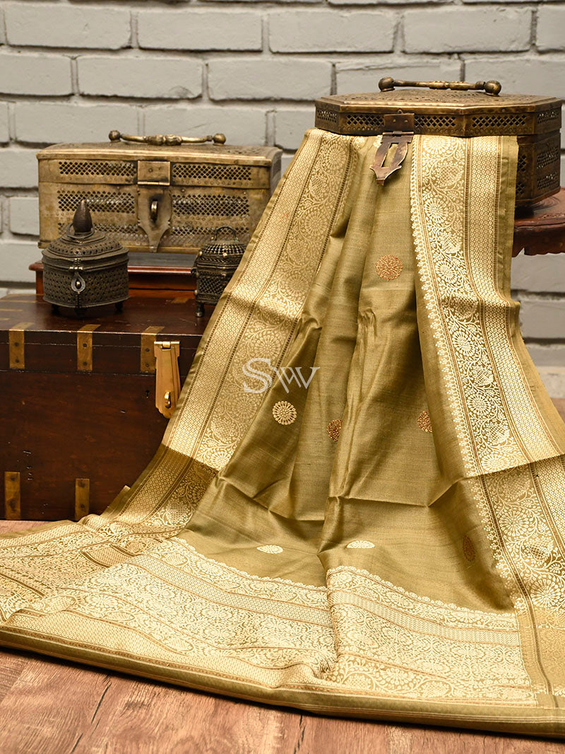 Light Olive Green Tussar Silk Handloom Banarasi Saree - Sacred Weaves