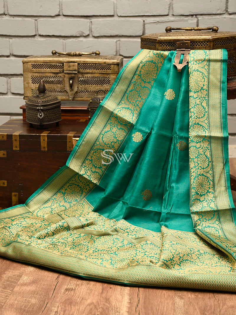 Teal Green Tussar Silk Handloom Banarasi Saree - Sacred Weaves