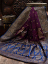 Dark Purple Dupion Silk Banarasi Handloom Saree - Sacred Weaves