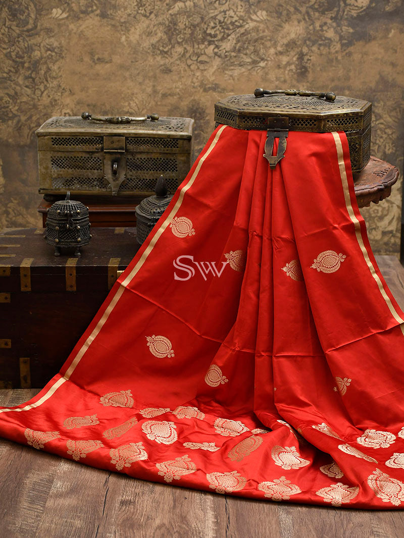 Red Pure Satin Silk Handloom Banarasi Saree - Sacred Weaves