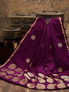 Gorgeous Purple Color Pure Satin Silk Banarasi Saree - Sacred Weaves