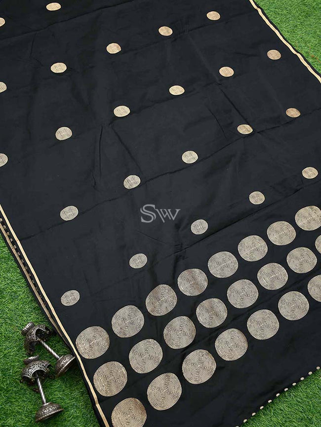 Stunning Black Color Pure Satin Silk Banarasi Saree - Sacred Weaves