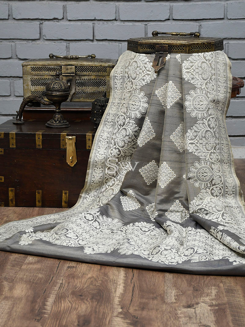 Pastel Grey Tussar Silk Handloom Banarasi Saree - Sacred Weaves
