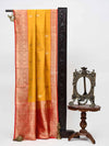 Mustard Gold Zari Contrast Broad Border Pure Katan Silk Banarasi Saree - sacred Weaves