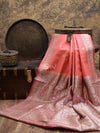 Beautiful Coral Pink Color Pure Dupion Silk Banarasi Saree - Sacred Weaves
