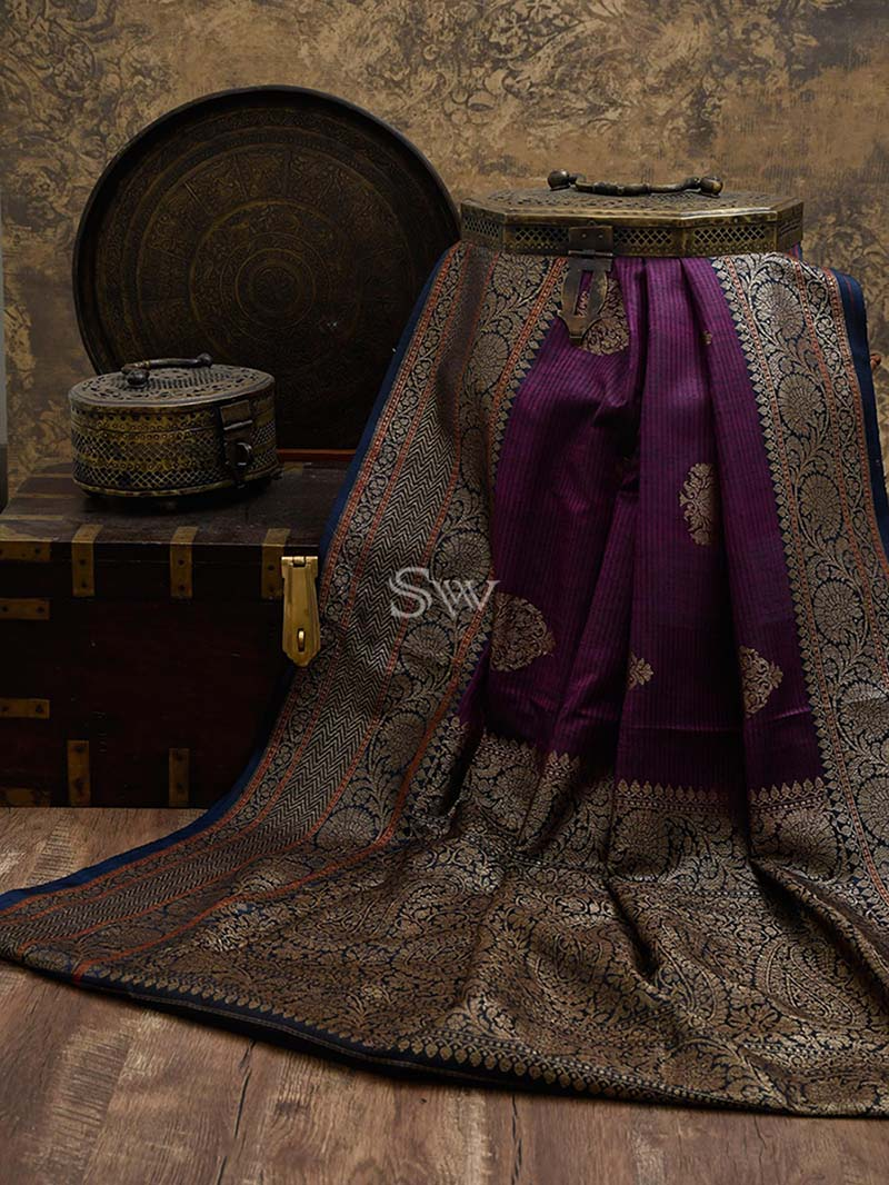 Purple Dupion Silk Handloom Banarasi Saree - Sacred Weaves