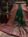 Green Dupion Silk Banarasi Handloom Saree