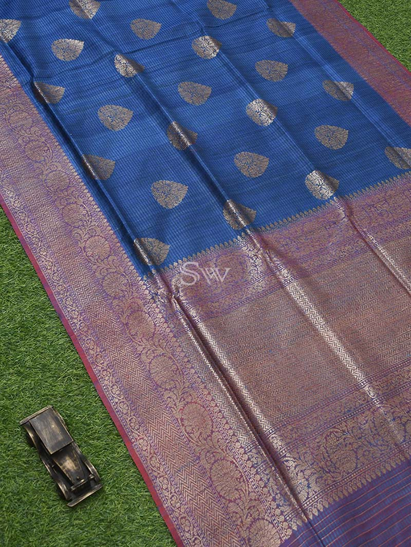 Blue Dupion  Handloom Banarasi Saree - Sacred Weaves