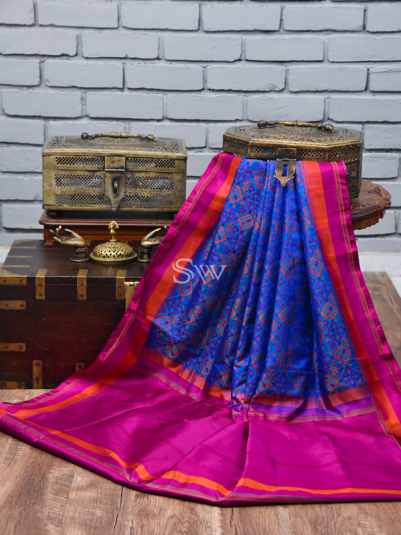 Blue Orange Tanchoi Silk Handloom Banarasi Saree - Sacred Weaves